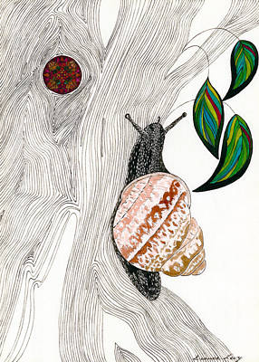 Poster featuring the drawing Your Garden Snail by Dianne Levy