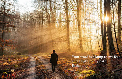Your Word Is A Light To My Path Bible Verse Quote Poster by Matthias Hauser