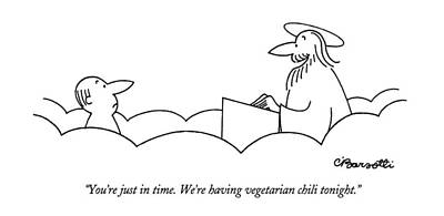 You're Just In Time.  We're Having Vegetarian Poster by Charles Barsotti