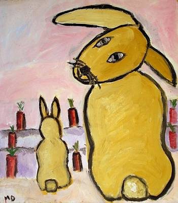 Poster featuring the painting Yummy Bunny by Michael Dohnalek