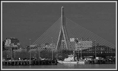 Poster featuring the photograph Zakim Bridge In Bw by Caroline Stella