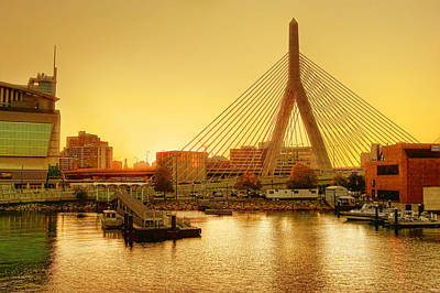 Zakim Bridge Sunset Poster by Nikolyn McDonald