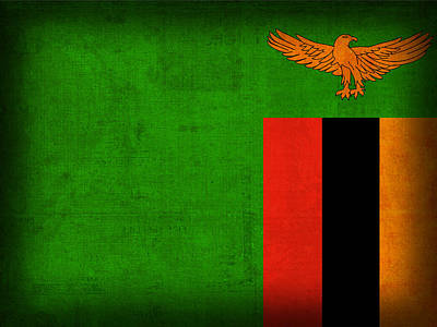 Zambia Flag Distressed Vintage Finish Poster