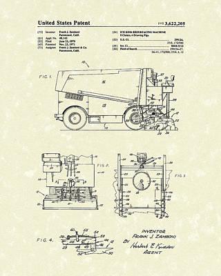 Zamboni 1971 Patent Art Poster