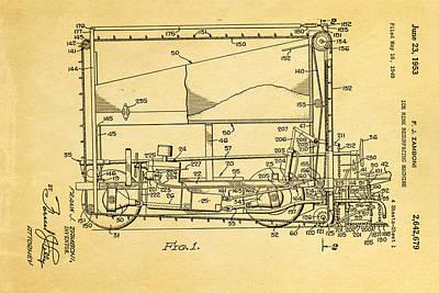 Zamboni Ice Rink Resurfacing Patent Art 1953 Poster