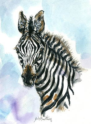 Poster featuring the painting Zebra 1 by Mary Armstrong