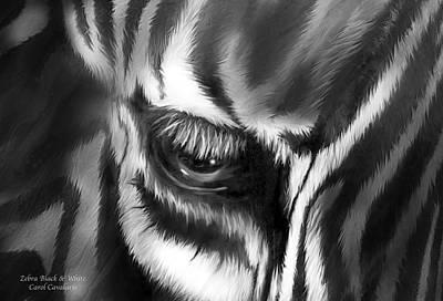 Zebra Black And White Poster by Carol Cavalaris