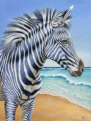 Zebra By The Sea Poster by Tish Wynne