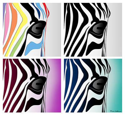 Zebra Collage   Poster by Mark Ashkenazi