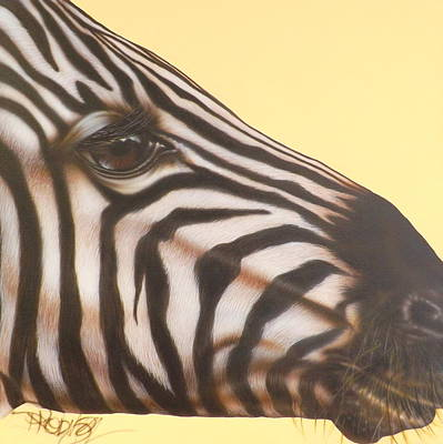 Poster featuring the painting Zebra by Darren Robinson
