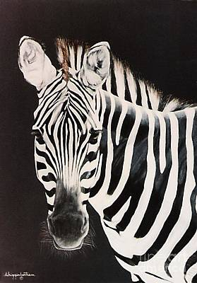Poster featuring the painting Zebra Facing Left by DiDi Higginbotham