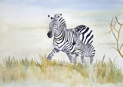 Zebra Family Poster by Laurel Best