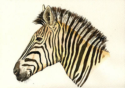 Zebra Head Study Poster by Juan  Bosco