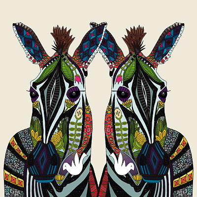 Zebra Love Ivory Poster by Sharon Turner