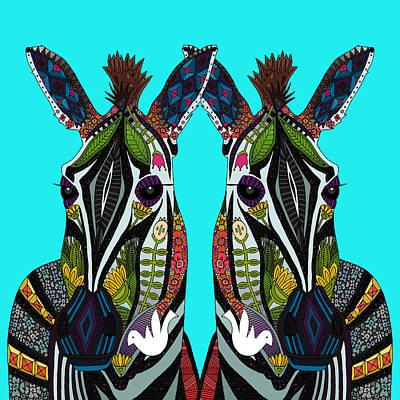 Zebra Love Turquoise Poster by Sharon Turner