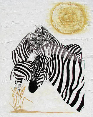 Poster featuring the painting Zebra Quintet by Stephanie Grant