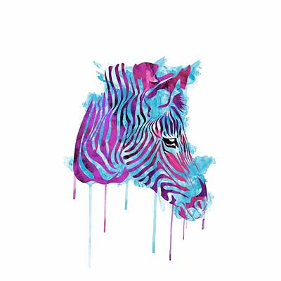 Zebra Watercolor Poster