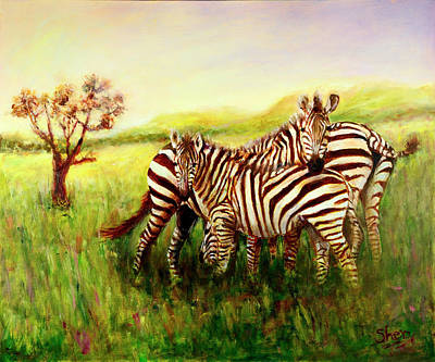Poster featuring the painting Zebras At Ngorongoro Crater by Sher Nasser