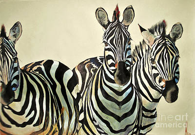 Poster featuring the drawing Zebras Drawing by Maja Sokolowska
