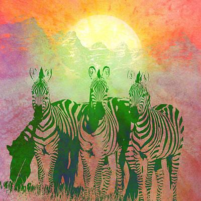 Zebras Poster by Gary Grayson