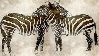 Zebras In Love Poster by Asar Sudios