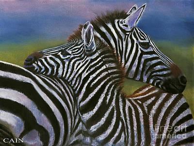 Zebras In Love Giclee Print Poster