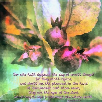 Zechariah 4 10 Poster by Michelle Greene Wheeler