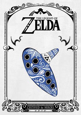 Zelda Legend - Ocarina Doodle Poster by Art Et Be