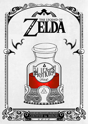 Zelda Legend - Red Potion Poster by Art Et Be