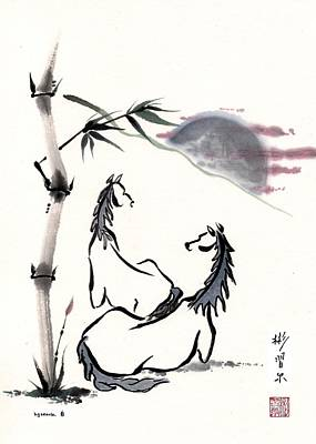 Poster featuring the painting Zen Horses Evolution Of Consciousness by Bill Searle