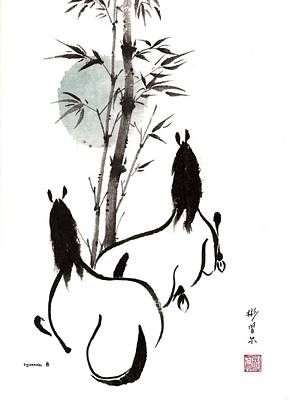 Poster featuring the painting Zen Horses Moon Reverence by Bill Searle