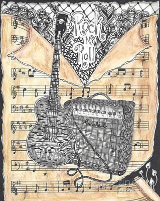 Zentange Inspired Guitar Poster by Dianne Ferrer