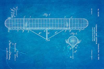 Zeppelin Navigable Balloon Patent Art 1899 Blueprint Poster