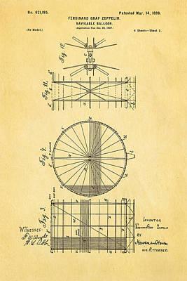 Zeppelin Navigable Balloon Patent Art 2 1899 Poster