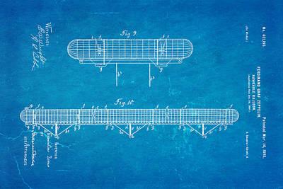 Zeppelin Navigable Balloon Patent Art 3 1899 Blueprint Poster