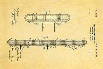Zeppelin Navigable Balloon Patent Art 3 1899 Poster