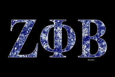 Poster featuring the digital art Zeta Phi Beta - Black by Stephen Younts