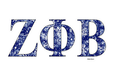 Poster featuring the digital art Zeta Phi Beta - White by Stephen Younts