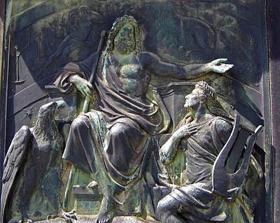 Poster featuring the photograph Zeus Bronze Statue Dresden Opera House by Jordan Blackstone