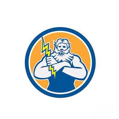 Zeus Greek God Arms Cross Thunderbollt Circle Retro Poster