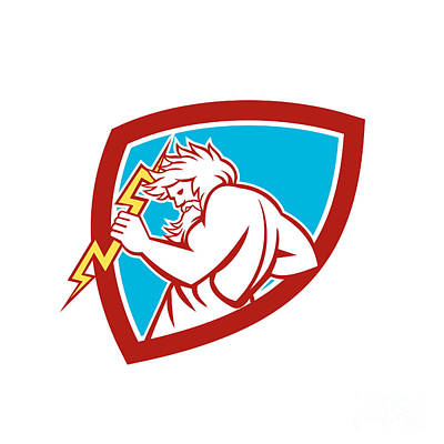 Zeus Wielding Thunderbolt Shield Retro Poster by Aloysius Patrimonio