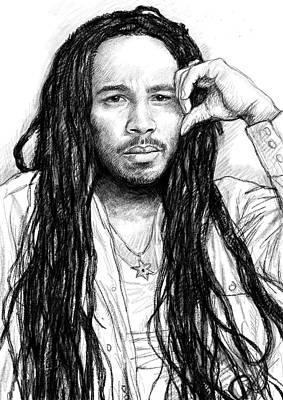 Ziggy Marley Art Drawing Sketch Portrait Poster by Kim Wang