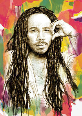 Ziggy Marley - Stylised Drawing Art Poster Poster by Kim Wang