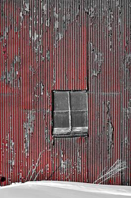 Zink Rd Barn Window Bw Red Poster by Daniel Thompson