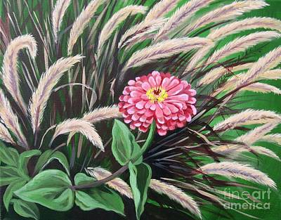 Zinnia Among The Grasses Poster