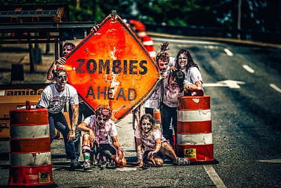 Poster featuring the photograph Zombies Ahead by Joshua Minso