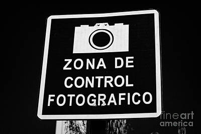 zona de control fotografico warning sign Santiago Chile Poster by Joe Fox