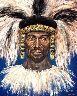 Poster featuring the painting Zulu Warrior by Arturas Slapsys