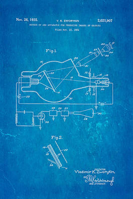 Zworykin Television Patent Art 2 1931 Blueprint Poster by Ian Monk