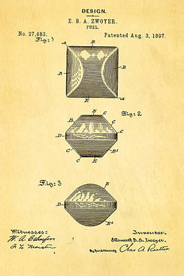 Zwoyer Charcoal Fuel Patent Art 1897 Poster by Ian Monk